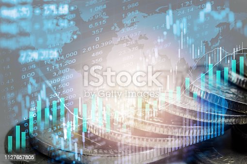 istock Stock market or forex trading graph and candlestick chart suitable for financial investment concept. Economy trends background for business idea and all art work design. Abstract finance background. 1127657805