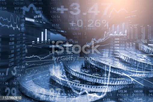 istock Stock market or forex trading graph and candlestick chart suitable for financial investment concept. Economy trends background for business idea and all art work design. Abstract finance background. 1127892810