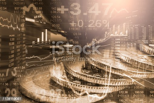 1140473216istockphoto Stock market or forex trading graph and candlestick chart suitable for financial investment concept. Economy trends background for business idea and all art work design. Abstract finance background. 1128119051