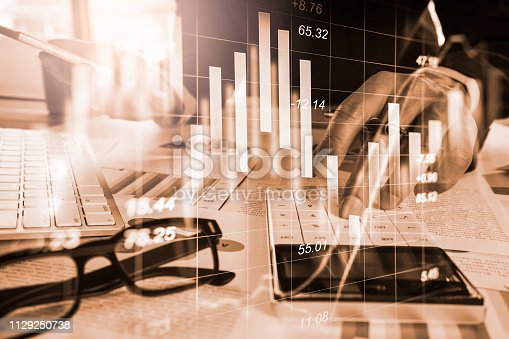 istock Stock market or forex trading graph and candlestick chart suitable for financial investment concept. Economy trends background for business idea and all art work design. Abstract finance background. 1129250738