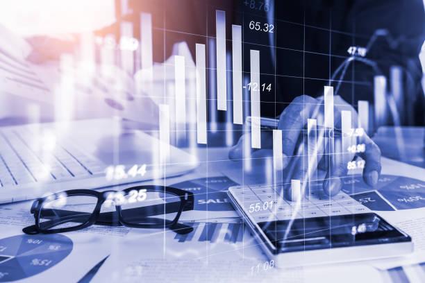 gráfico de mercado bursátil o forex trading y gráficos de velas adecuados para el concepto de inversión financiera. economía tendencias de fondo para la idea de negocio y todo el diseño de obras de arte. resumen de fondos financieros. - accounting fotografías e imágenes de stock