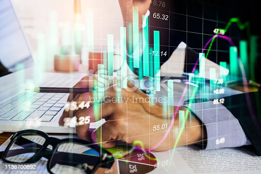 istock Stock market or forex trading graph and candlestick chart suitable for financial investment concept. Economy trends background for business idea and all art work design. Abstract finance background. 1136700892