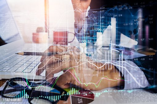 1140473216istockphoto Stock market or forex trading graph and candlestick chart suitable for financial investment concept. Economy trends background for business idea and all art work design. Abstract finance background. 1137448181