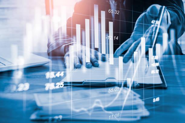 Börsen-oder Devisenhandelsgrafik und Kerzenleuchter diagramm, geeignet für das Finanzinvestitionskonzept. Economy Trends sind der Hintergrund für Geschäftsidee und das gesamte Design von Kunstwerken. Abstrakter Finanzhintergrund. – Foto
