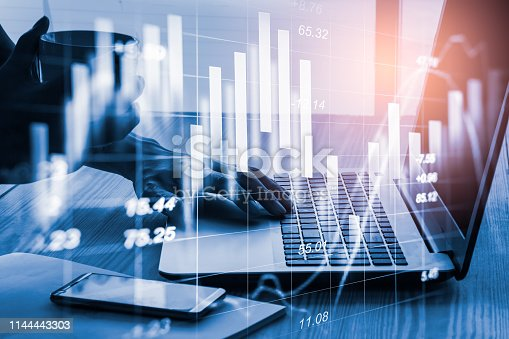 1140473216istockphoto Stock market or forex trading graph and candlestick chart suitable for financial investment concept. Economy trends background for business idea and all art work design. Abstract finance background. 1144443303