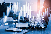 istock Stock market or forex trading graph and candlestick chart suitable for financial investment concept. Economy trends background for business idea and all art work design. Abstract finance background. 1144443303