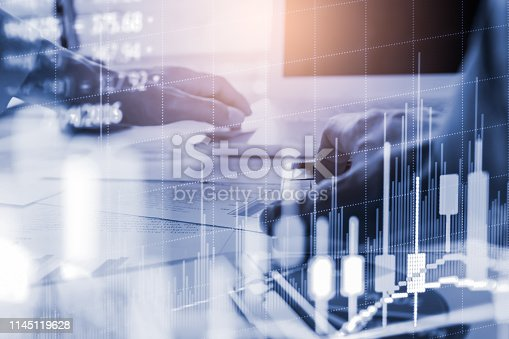 1140473216istockphoto Stock market or forex trading graph and candlestick chart suitable for financial investment concept. Economy trends background for business idea and all art work design. Abstract finance background. 1145119628