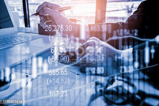 1090482098istockphoto Stock market or forex trading graph and candlestick chart suitable for financial investment concept. Economy trends background for business idea and all art work design. Abstract finance background. 1155321413