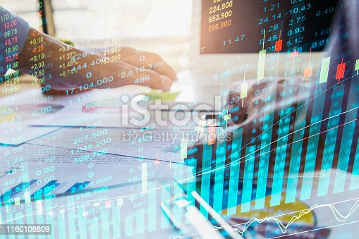 1140473216istockphoto Stock market or forex trading graph and candlestick chart suitable for financial investment concept. Economy trends background for business idea and all art work design. Abstract finance background. 1160108809
