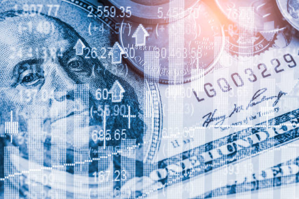 stock market or forex trading graph and candlestick chart suitable for financial investment concept. economy trends background for business idea and all art work design. abstract finance background. - exchange rate stock pictures, royalty-free photos & images