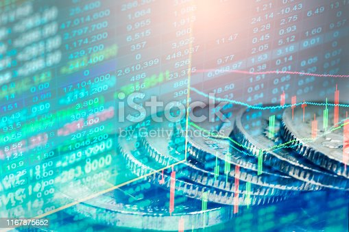 1140473216istockphoto Stock market or forex trading graph and candlestick chart suitable for financial investment concept. Economy trends background for business idea and all art work design. Abstract finance background. 1167875652