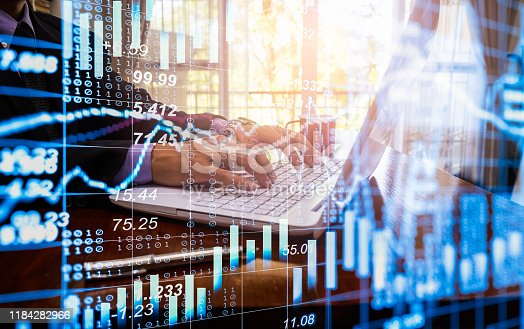 1140473216istockphoto Stock market or forex trading graph and candlestick chart suitable for financial investment concept. Economy trends background for business idea and all art work design. Abstract finance background. 1184282966