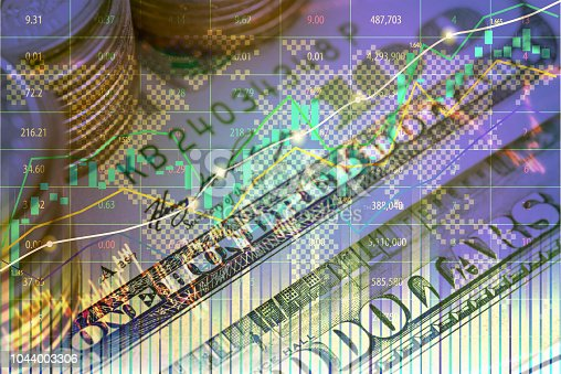Double exposure of investment on stock market or forex trading in graphic design for financial concept
