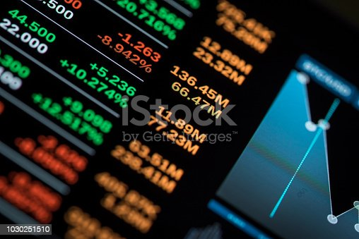 Stock market chart. Photography of monitor screen.