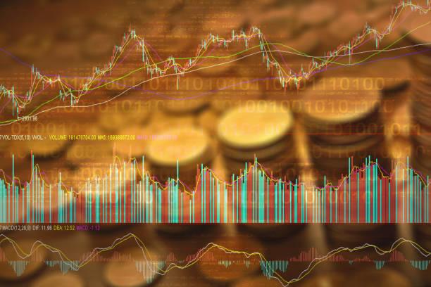Börsenkurs mit Gold Hintergrund – Foto
