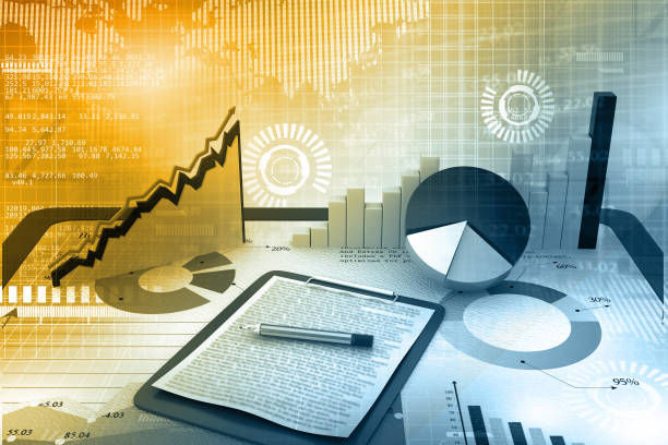 Stock market report Stock market report. 3d illustration market research stock pictures, royalty-free photos & images