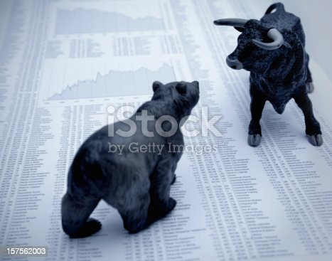 istock Stock market report with bull and bear 157562003