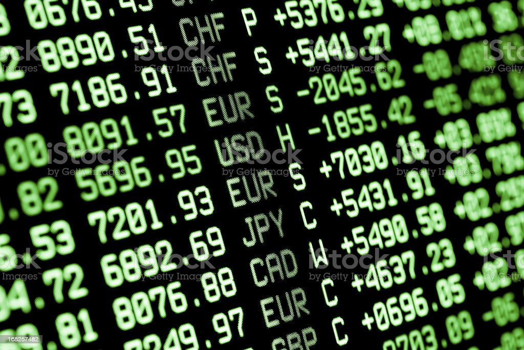 Stock market screen in green and black royalty-free stock photo