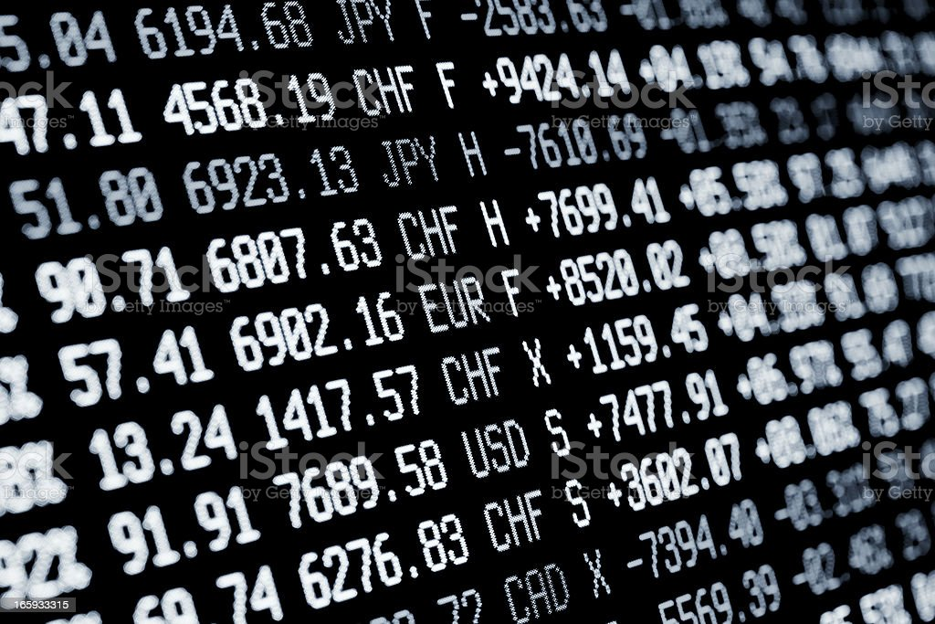 stock market screen numbers - finance + currency data royalty-free stock photo