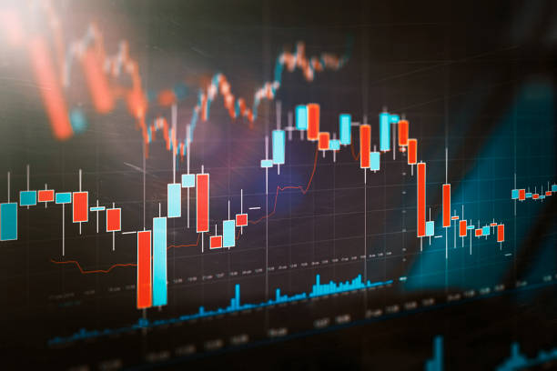 Stock market trading graph, investment chart stock photo