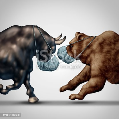 Stock market virus fear or bull and bear economic crisis and sick financial health as a business recession concept or metaphor for uncertainty in the economy investing sentiment in a 3D illustration style.