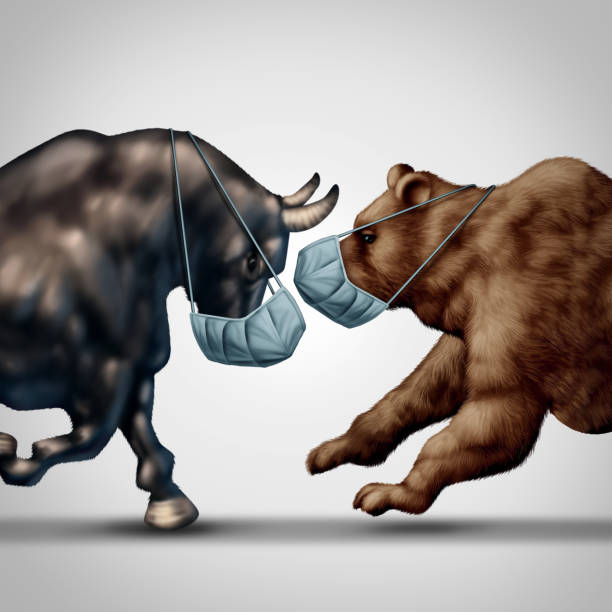 Stock Market Virus Stock market virus fear or bull and bear economic crisis and sick financial health as a business recession concept or metaphor for uncertainty in the economy investing sentiment in a 3D illustration style. bull market stock pictures, royalty-free photos & images