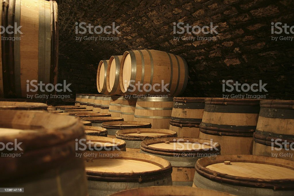stock of winebarrels in winecellar stock photo