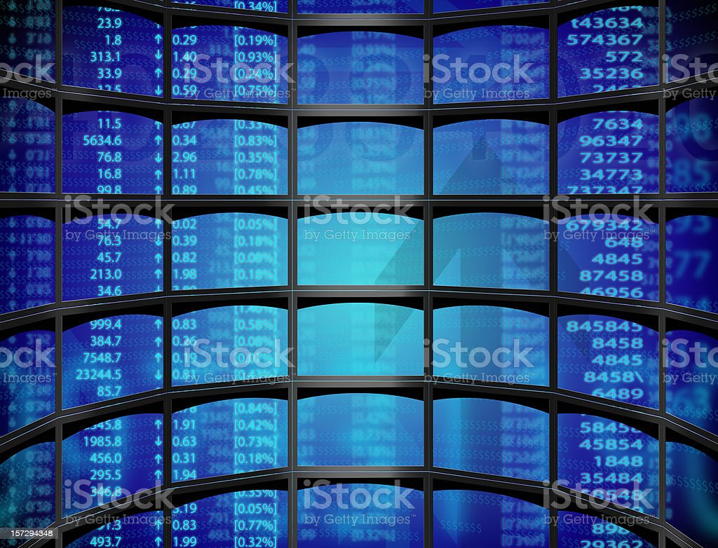Stock on multiple screens royalty-free stock photo