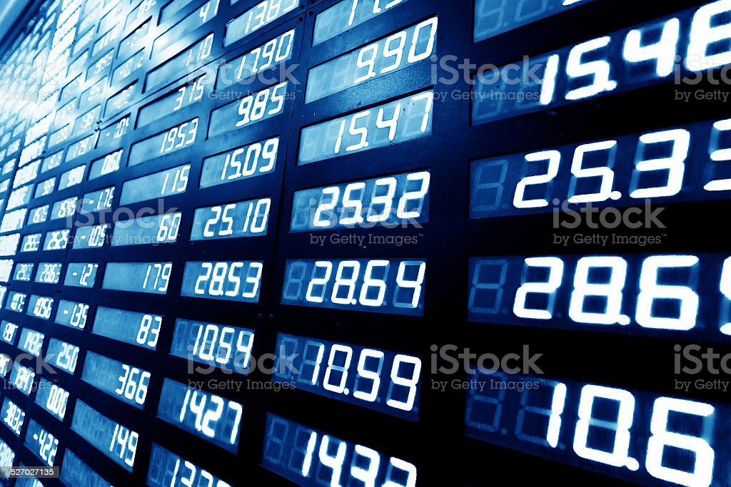 stock or currency exchange market displau screen board stock photo