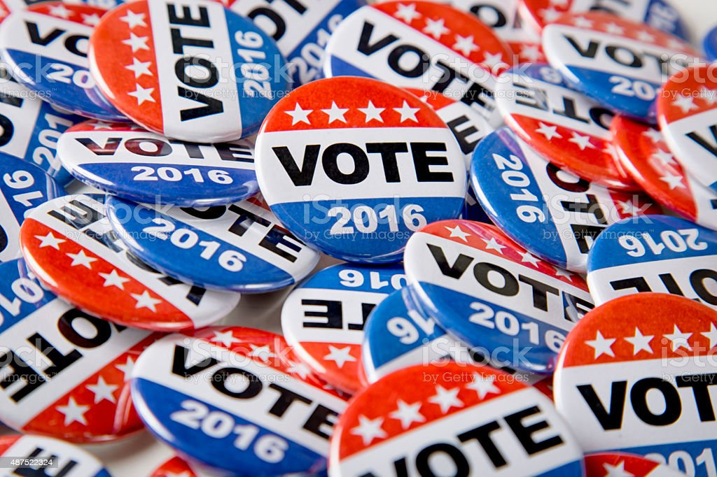 Stock Photo of 2016 Campaign Vote Buttons stock photo