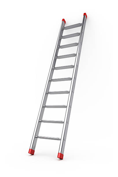 stock photo of a metal stepladder on a white background - ladder stock photos and pictures
