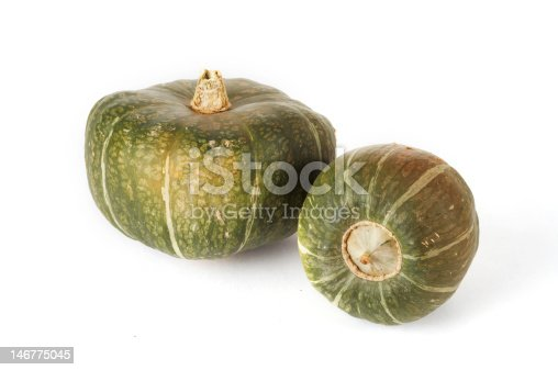 Two buttercup squashes sit on a white background.