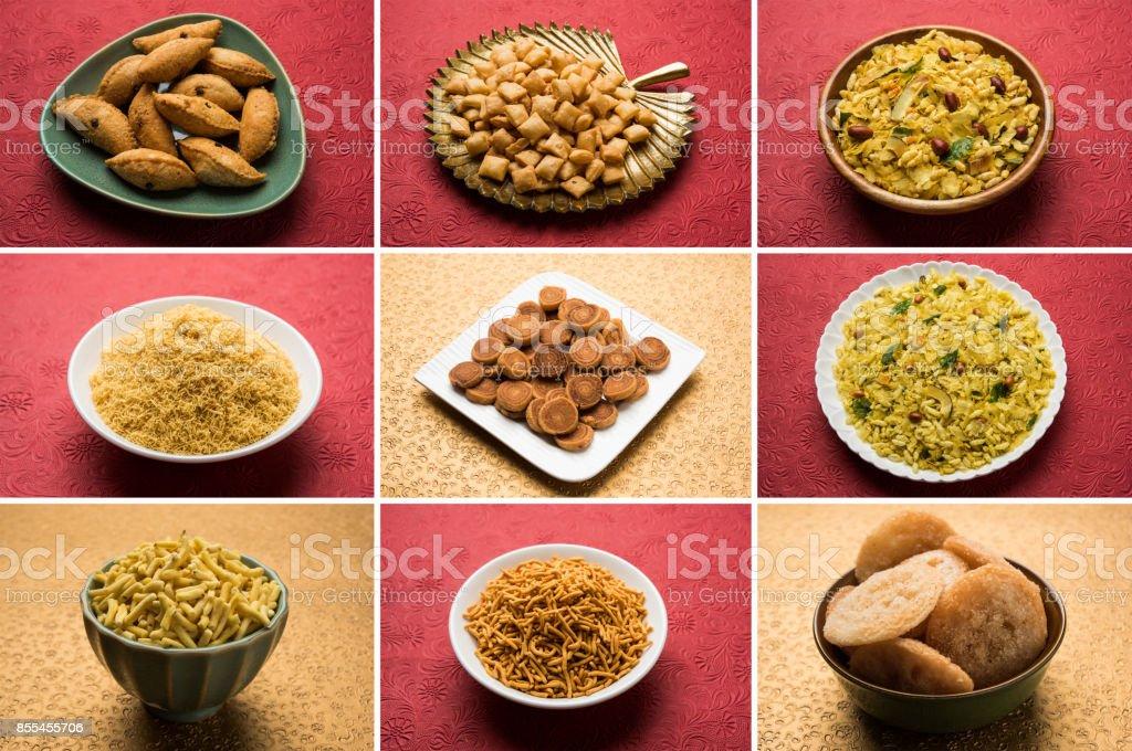 stock photo of  collage of Diwali food or Indian festival food like anarsa, bakarvadi, chakli, sev, bhujiya, shankar pale and chivda or chiwada, karanji, favourite indian diwali recipe group stock photo