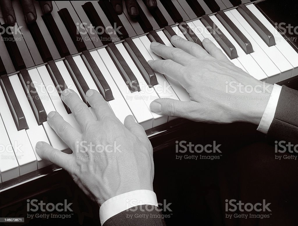 Stock Photo of Hands Playing Piano royalty-free stock photo