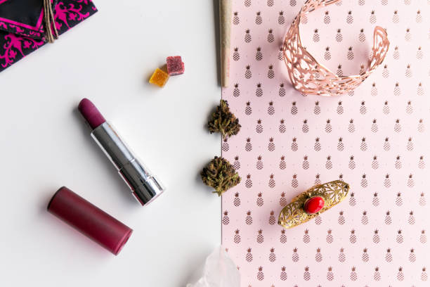 Stock Photography Inventory Stock Photography Inventory 100% 10 Pretty Purple Daisy and Bright Green Spring Flowers Floral Cannabis Background Wallpaper with Marijuana Nugs or Buds 0 of 0 Context:    Pink Pineapples and Lipstick Woman's Accessories for C stock photo