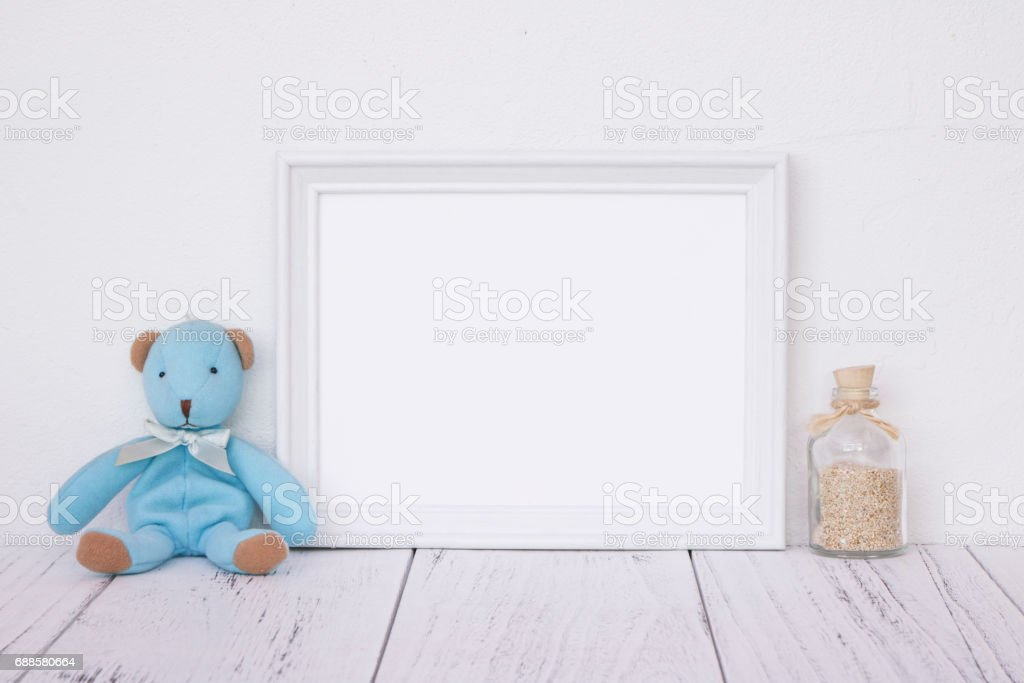 Stock Photography White Frame Vintage Painted Wood Table Cute Blue ...