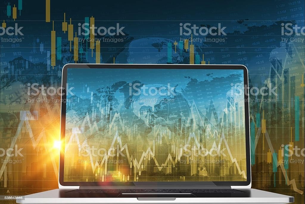 Stock Trader Computer stock photo