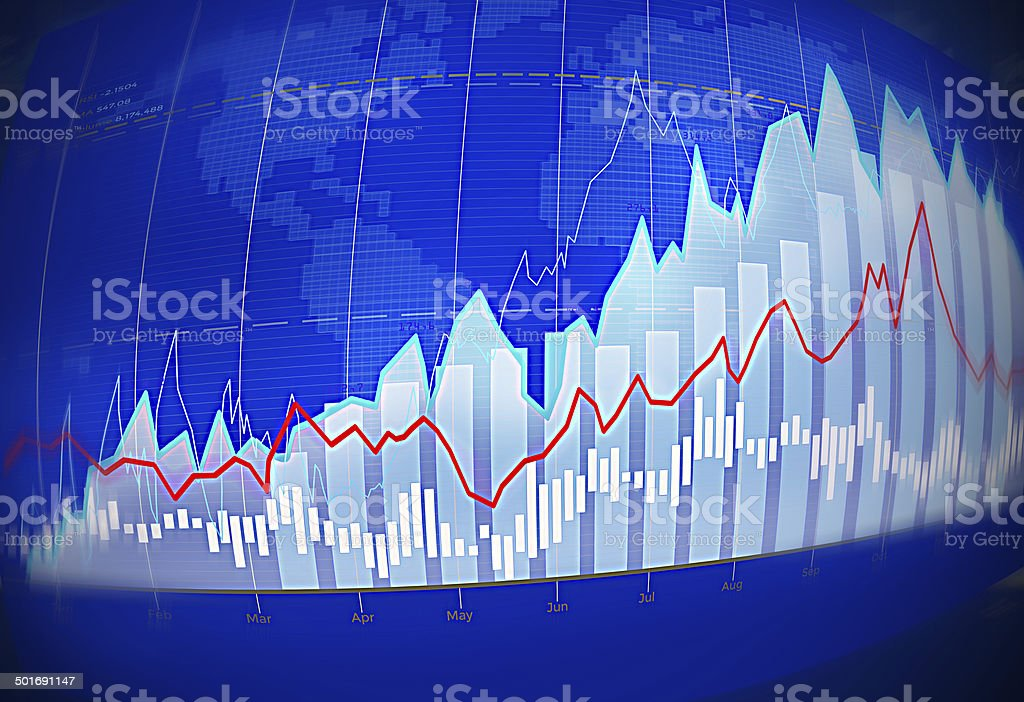 Stock trading chart with world map in the background stock photo