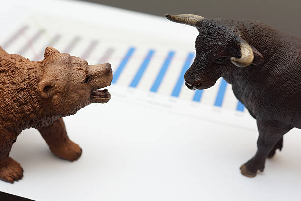 stock trading with bull and bear - bearmarkt stockfoto's en -beelden
