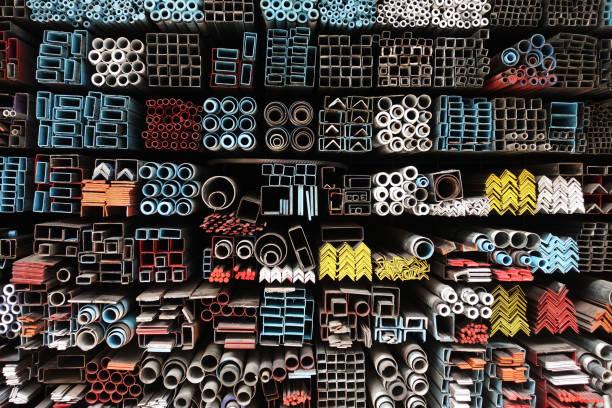Stock warehouse many kind of steel tube – zdjęcie