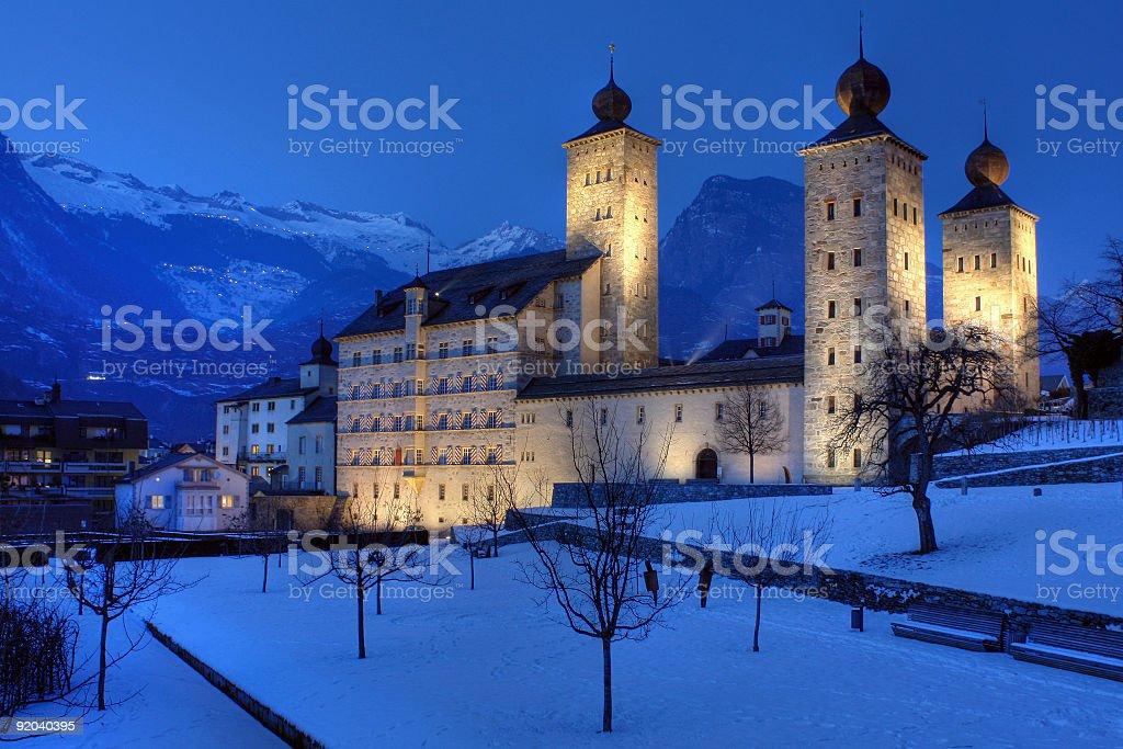 Stockalper Palace, Brig, Switzerland stock photo