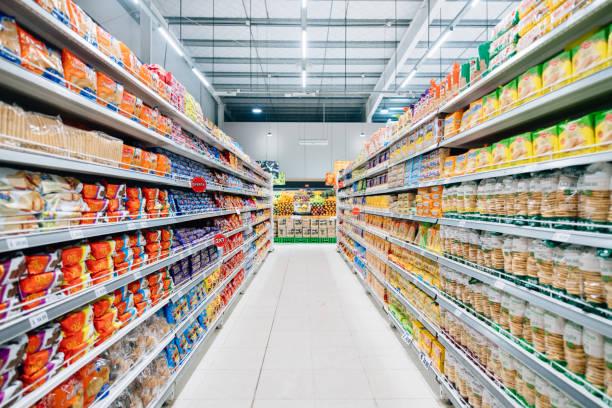 Stocked Supermarket stock photo