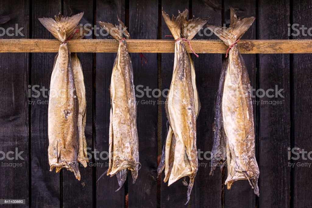 Stockfisch ist ungesalzener Fisch, insbesondere Kabeljau, durch kalte Luft getrocknet – Foto