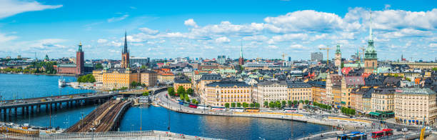 Stockholm aerial panorama over Gamla Stan waterfront City Hall Sweden stock photo