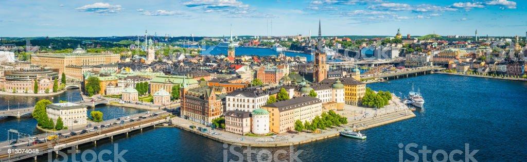 Stockholm aerial panorama over Gamla Stan waterfront harbour spires Sweden stock photo