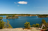 Stockholm archipelago, sunny summer day with blue sky
