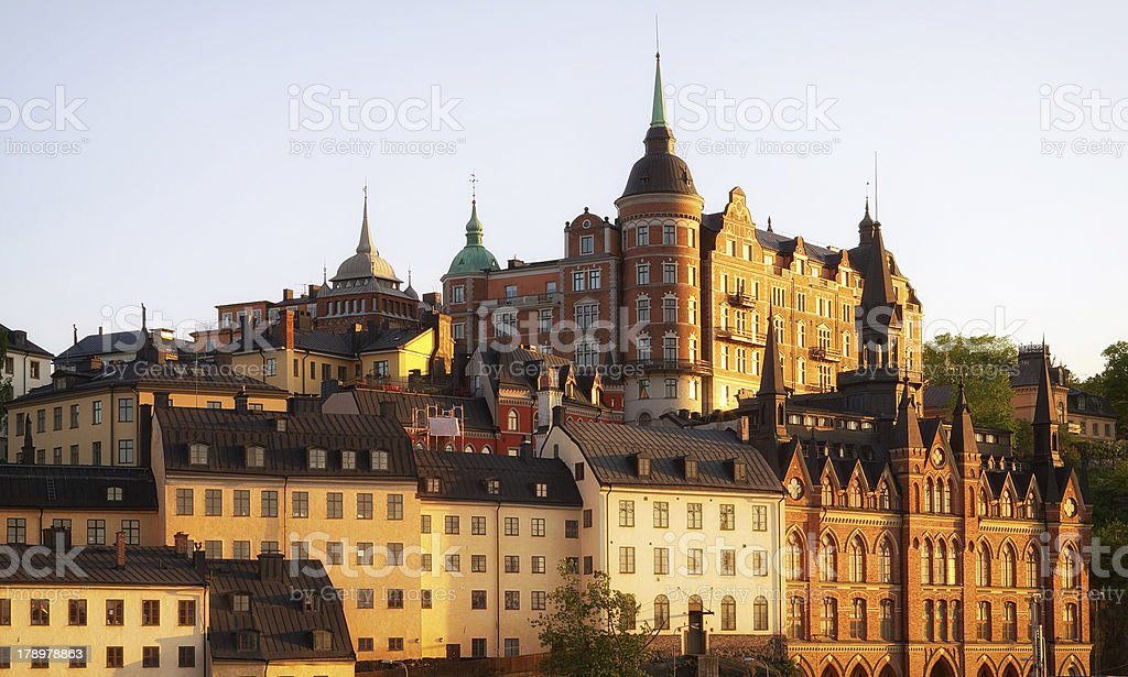 Stockholm at sunset. stock photo