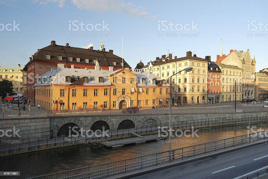 Stockholm  at sunset royaltyfri bildbanksbilder