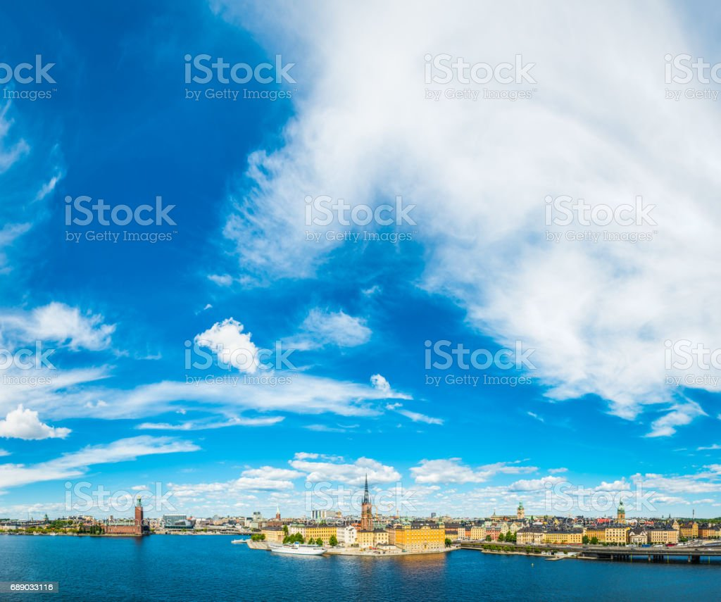 Stockholm big skies City Hall Gamla Stan harbour waterfront Sweden stock photo