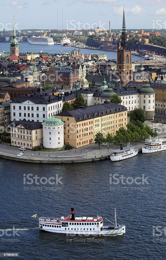 Stockholm City coast with boat in water royalty-free stock photo